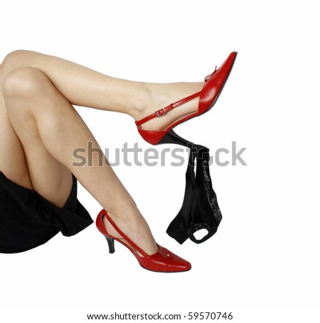 Black panties and red high heels shoes - stock photo