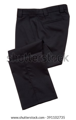 Black pants, trousers on white background