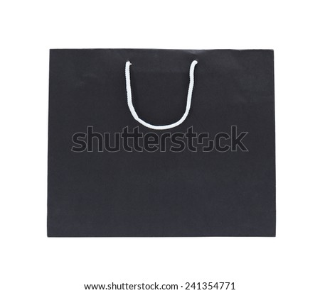 black paper bag on a white background isolated - stock photo