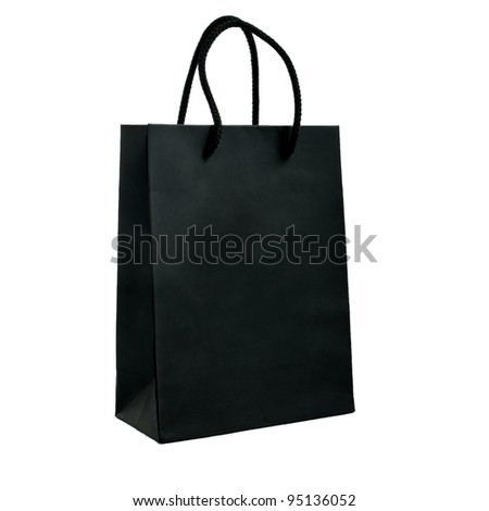 black paper bag with handles on a white background - stock photo