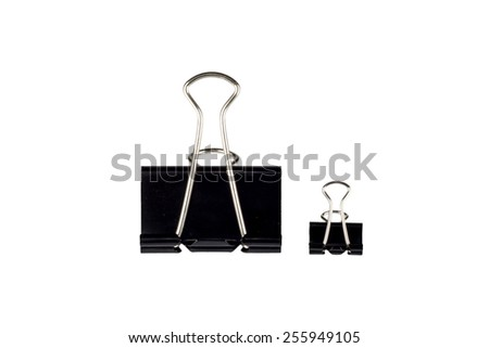 Black Paper clip isolated on white background. - stock photo