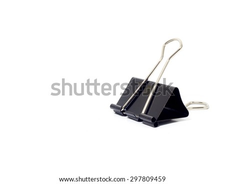 Black Paper clip on white background.