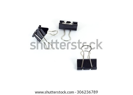 black paper clips on white isolate background - stock photo