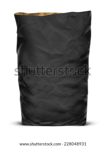 Black paper eco bag isolated on white background - stock photo