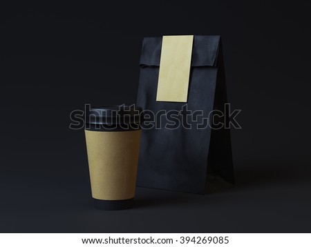 Black paper packaging with paper cup on dark background