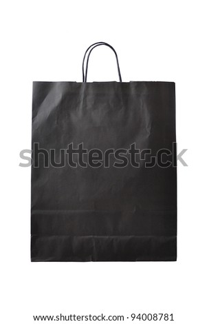 Black paper shopping bag isolated on white background - stock photo