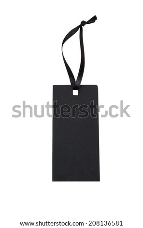 Black paper tag with a ribbon isolated on white background - stock photo