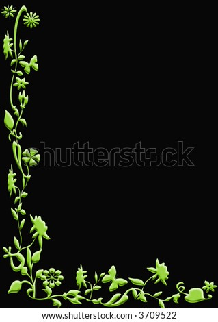 Black paper with abstract floral border - stock photo