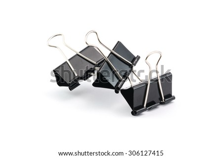 Black paperclips isolated on white background.