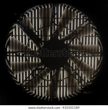 ac vent fan. black part of fan blades modern ventilation system / air conditioner background ac vent