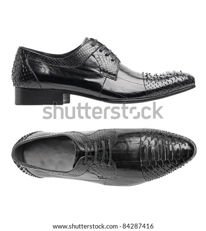 Black patent leather male shoe, side and top views, with clipping path - stock photo