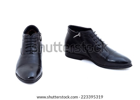 Black patent leather men shoes against white background. Male fashion with shoes on white