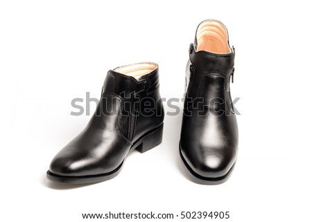 Black patent leather men shoes isolated on white background