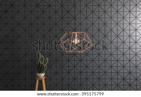 black pattern wall  interior with modern copper lamp and cactus - stock photo