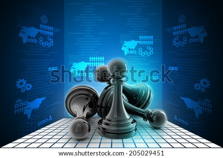 black pawn isolated on  colour