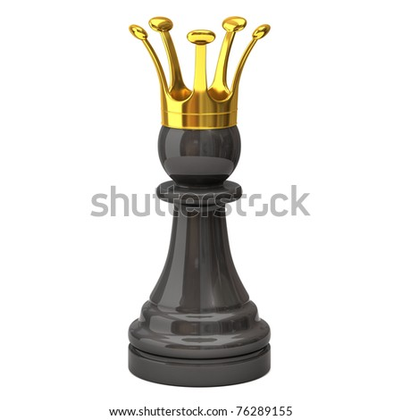 Black pawn with a golden crown - stock photo