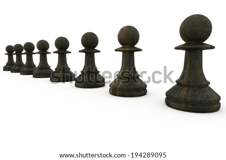 Black pawns in a row on white background