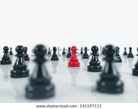 black pawns over the white background