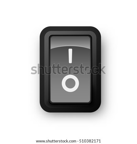 Black pc electric switch, off position, 3d realistic object, 3d illustration of electrical equipment, raster