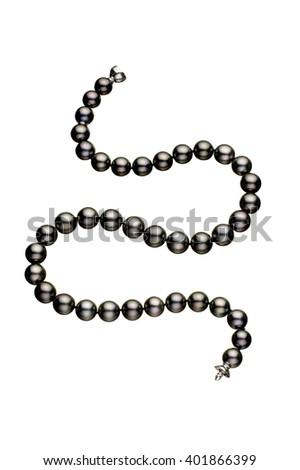 Black pearl bracelet on white background