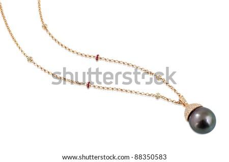 Black pearl necklace with white diamonds. - stock photo