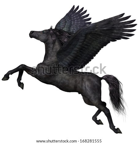 Black Pegasus Profile - A magical black Pegasus spreads its wings and flies up into the sky. - stock photo
