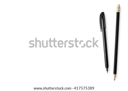 Black pen and pencil isolated on white background. Top view with copy space. - stock photo