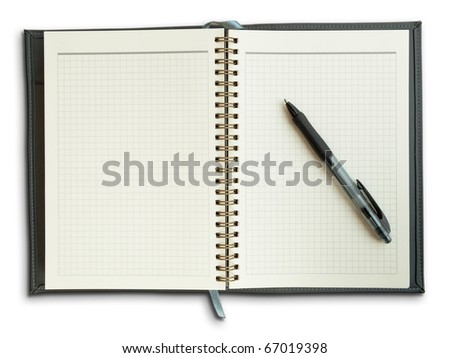 Black pen on a notebook with a grid isolate on white background