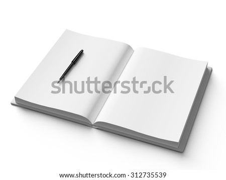 Black pen on white open book, on white background, concept - stock photo
