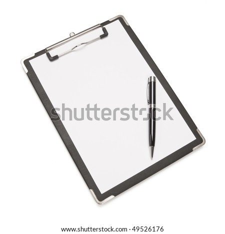 Black pen sitting on a clipboard with a sheet of white paper isolated on white background. - stock photo
