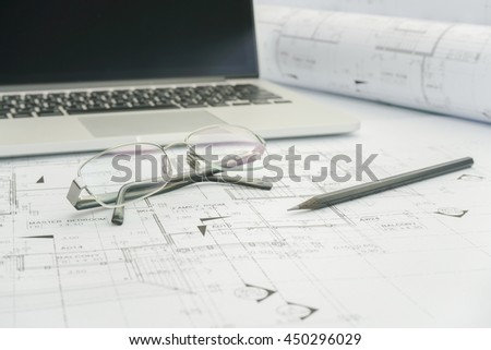 Construction Plans Drawing Tools On Blueprints Stock Photo