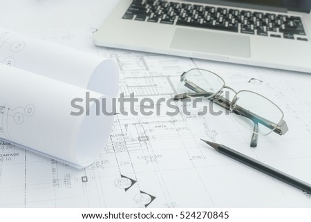 Architectural Background Building Model Drawing Stock Vector