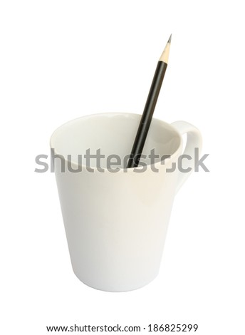 Black pencil on a white cup .