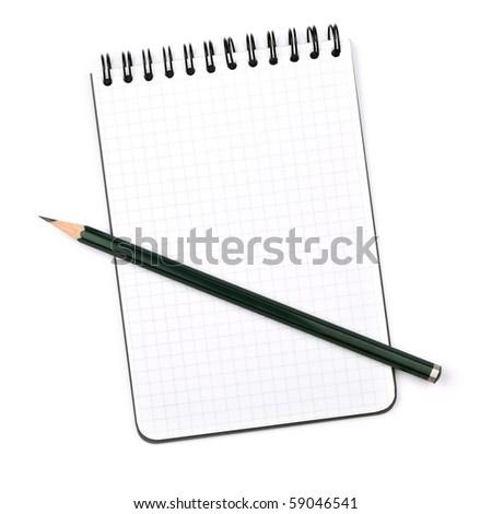 Black pencil on notepad. Isolated on white background - stock photo