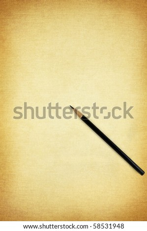 black pencil on the old vintage horizontal paper pattern background
