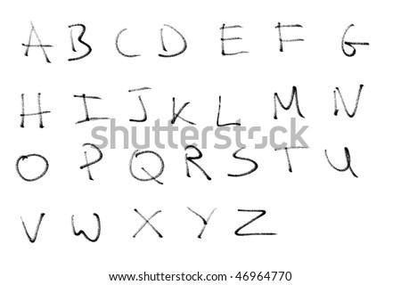 Black pencil or charcoal chalk alphabet letter set. Real media illustration. - stock photo