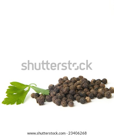 Black pepper and parsley - stock photo