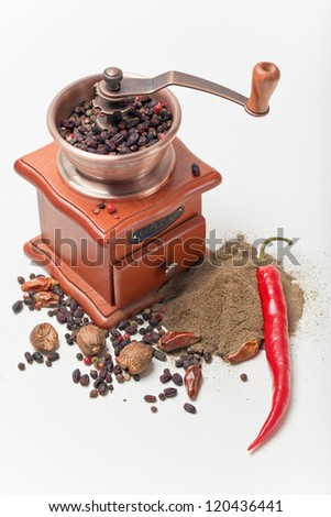 Black pepper and red pepper pod and pepper mill - stock photo