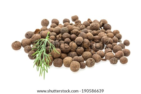 Black pepper heap isolated on white - stock photo