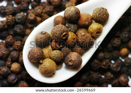 black pepper in a ceramic spoontea - stock photo