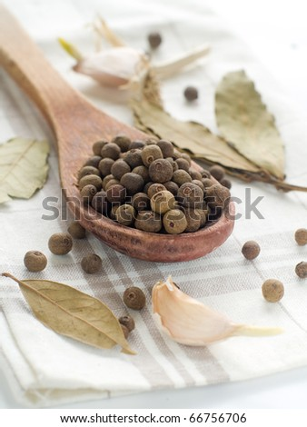 Black pepper in wooden spoon with garlic on background - stock photo