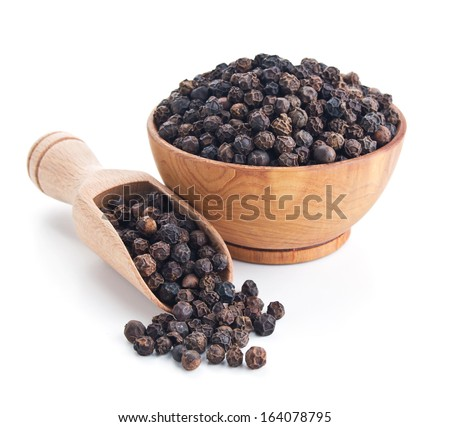 black pepper isolated on white background - stock photo