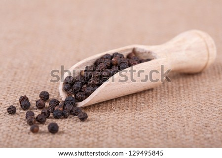 black pepper peas in the scapula against sacking - stock photo