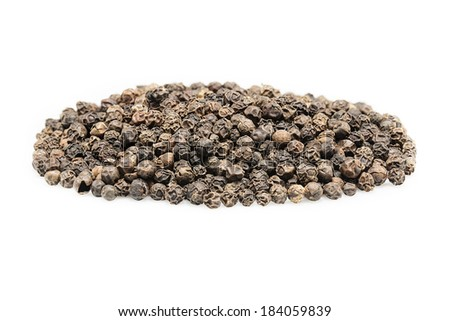 Black  pepper seeds on a white background - stock photo
