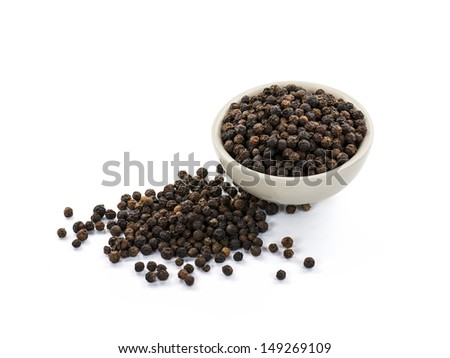 Black peppercorn isolated on white background - stock photo
