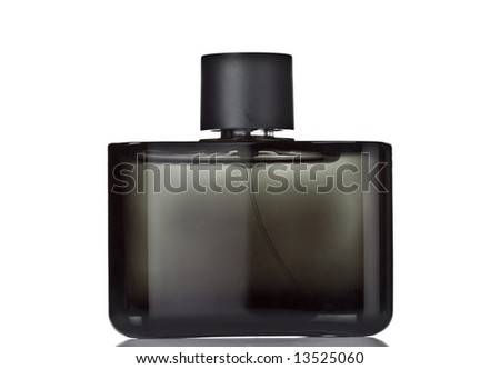 Black perfume bottle - stock photo