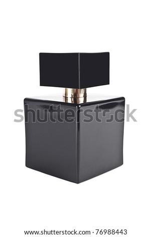 Black perfume bottle isolated on white - stock photo