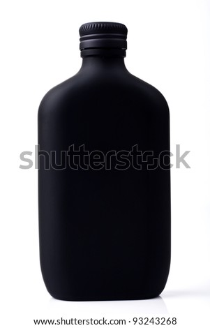 Black perfume bottle isolated on white - stock photo
