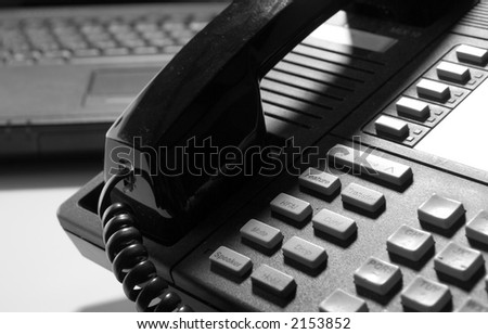 Black Phone and Computer - stock photo