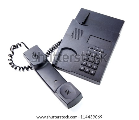 black phone call with cord isolated on white background - stock photo